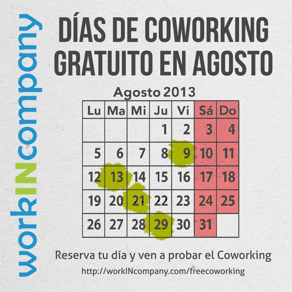 Días de Coworking Gratuito en Agosto 2013